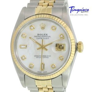 Rolex Mens Datejust White MOP Diamond Dial 36mm